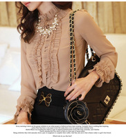 Korean version of the new stand-up collar lace chiffon shirt blouses wear long-sleeved shirt bottoming lace folds OL tide