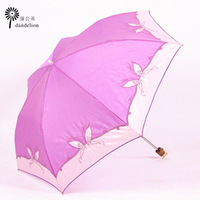 Pearl embossed embroidery sun umbrella anti-uv sun protection umbrella sunscreen umbrella pencil folding