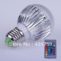 2014 Sale Led Lamp 1pcs(high Power) E27 Led Lamp Ac85-265v /ac Bulb with Remote Control Multiple Colour Lighting Free Shipping