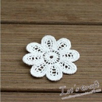 Zakka Style Cotton Lace Beautiful Flower Shape Paste Flower Patch Size 5cm (40pcs) Free shipping