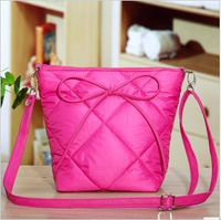 Fall 2013 bow cotton bag handbag women candy color shoulder bag fashion plaid messenger bag lovely small bag/FREE SHIPPING