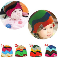 babys beanies kids knitting hat children's fashion head wear girls Accessory rainbow cap 1-3years bh12