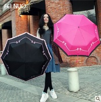 Free Shipping Ladies Three Folding  Umbrella With Bowtie And Lace Trim Factory  Promotion