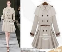 Star style poncho cape epaulette skirt trench outerwear beige Dark Blue