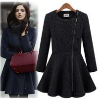2013 spring fashion ladies gentlewomen elegant o-neck side zipper slim waist skirt wool coat outerwear