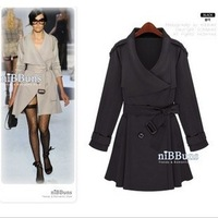 Fashion fashion large lapel lacing trench outerwear beige black short in size