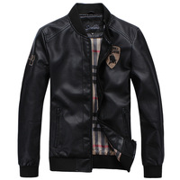 13 autumn and winter slim outerwear male short design PU thin leather clothing leather jacket outerwear jk89
