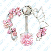 Free Shipping!Wholesale Zircon Body Dangle Ring  Navel Ring Belly Ring Body Piercing JewelryC2455B