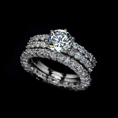 Best Quality 7 5mm 1 75ct Swiss Cubic Zirconia Diamond Three Band Wedding Ring