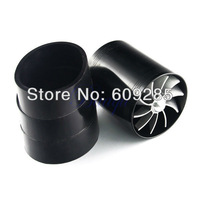New Black Double Supercharger Turbo Air Intake Fan Fuel Saver Fan
