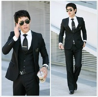 2013 new free shipping Fashion fashion plus size men's clothing male suit piece suits set