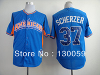 Free Shipping 2013 All Star Baseball Jerseys Detroit Tigers #37 Max Scherzer Blue Jersey,Embroidery Logos,Mix Order