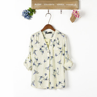 Animal printed blue birds autumn long sleeve V-neck collar design slim t shirt for women casual blouse
