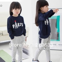 retail 2014 autumn clothing,paris letter clothes for children/kids baby girl,sweater+pants 2pcs/set sport suit