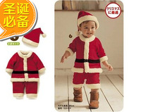 Free shipping child christmas set 2 autumn and winter polar fleece fabric bodysuit romper set clothing sets