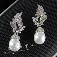 2013 fashion jewlery, Small fashion pearl vintage luxury crystal earrings