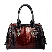 Fashion Gradient Crocodile Pattern Genuine Leather Handbag Women