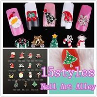 Free Shipping 100pcs/designs Nail Alloy  15designs available for Christmas Nail Art  100pcs/lot 3D nail art salon express.