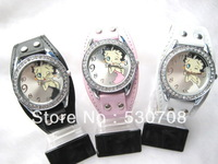 Wholesale 3 PCS Womens Ladies Girls Lovely Sexy Betty Boop Analog Quartz Wrist Watches 3colors, Free & Drop Shipping