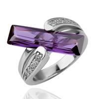 18KGP R100 Purple Strip Crystal 18K Gold Plated Ring Health Jewelry Nickel Free Platinum Rhinestone Austrian Crystal SWA Element