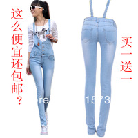 Free Shipping 2014 Fashion Summer Pencil Overall Pants One Piece Denim Jumpsuit For Women High Waisted Suspenders Jeans Rompers