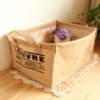 Fluid storage box cloth storage bag clothes storage basket jute desktop storage zakka