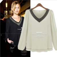 2013 fashion autumn new arrival loose plus size beading V-neck chiffon top bubble all-match fashion long-sleeve shirt