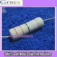 5W 5 watt Metal Oxide Film Resistors 30 Value Assorted 1ohm- 1Mohm Kit 30pcs