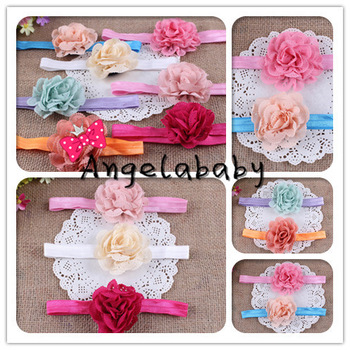 Eyelet Flower Headbands On Shimmer Fold Over Headbands For Newborn/Baby/Toddlers 70pcs/lot