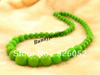 "Min.order is $10 Free shipping! 18"" Children Necklace Green Acrylic Beaded Necklace Kindergarten Necklace"