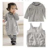 Retails Lovely Grils Striped clothing suits shirt+ suspender skirt with bow for Kids long sleeve cotton sets free shipping