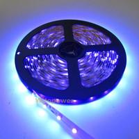 free shipping 16.4ft 5M UV 395nm 3528 SMD Purple 300 LED Flex Strip Light Non-Waterproof 12V