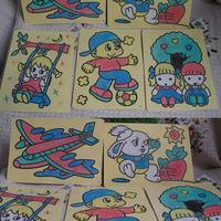 Freeshipping Child intelligence toys Large pattern handmade diy sand painting sand  school supply 12pcs/lot