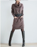 Free shipping long sweater women New 2013 hot selling slim medium-long basic cashmere sweater knitted one-piece dress