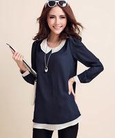 Women Large Size XL-4XL Color Blocking Long Sleeve Loose Tshirt Free Shipping se948