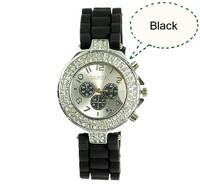 2013 Hot Sell! luxury Fashion Goods Lady Brand GENEVA Rose Gold Diamond Quartz Silicone Jelly Watches,Free Shipping Dropshipping