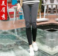 2014 autumn leggings knee applique ankle length trousers warm leisure leggings k311 patchwork