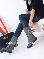 Free shipping!!! Fashion hot selling casual women/lady short boots, soft&warm sweet lace-up elevator ankle boots in winter