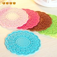 Home supplies candy color soft pvc lace style flower circle slip-resistant jottings bowl pad