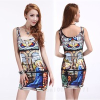 HOT SALE FASHION EUROPEAN AND AMERICAN PAINTING MINI VEST DRESS GWF-65314