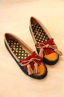 2013 women's shoes poudoudou color block decoration bow tassel single shoes lowrysfarm
