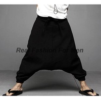 Men's Gothic Retro Vintage Cool Unique Fashion Style Black Harem Pants Baggy Design Linen Trousers M L XL