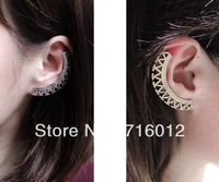 Free Shipping 6pc a lot Min.order is $15 (mix order) Silver Hallow fight sector Ear Cuff Clip Stud Earring E4683b