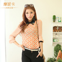 Plus size clothing 2013 summer plus size clothing diamond long-sleeve chiffon shirt