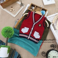 2013 children's clothing autumn and winter child fashion preppy style full cotton vest baby outerwear