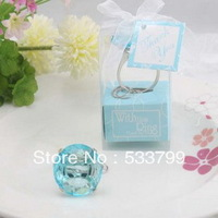 Free Shipping +With This Ring Crystal Keychain Ring in Blue Color Unique Party Gift Favors+10pcs/lot