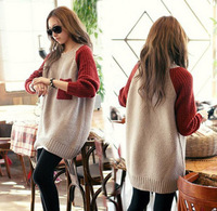 Plus size loose mm color block decoration pocket sleeve length sweater dress basic sweater female