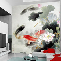 New arrival! Aesthetic mural wallpaper large ink painting carousingly entranceway eco-friendly non-woven wallpaper