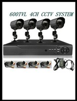 4CH CCTV SYSTEM 600TVL ir day and night vision outdoor indoor Waterproof caeras Network D1 P2P Cloud DVR Recorder CCTV Systems