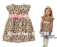 Retail, free shipping  children clothing for the girls leopard baby girls dresses